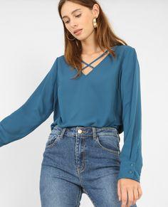 Blouse à col croisé - On aime la blouse pour sa légèreté et sa faciliter à se mixer ave...