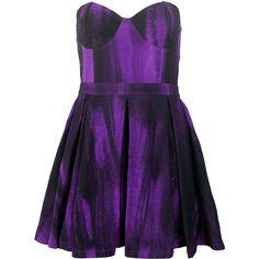 Motel Pearl Strapless Skater Dress in Melting Violet Print ($67) ❤ liked on Polyvore