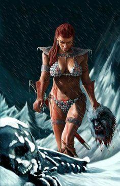 Fantasy Art and Comic illustration Fantasy Art Women, Dark Fantasy Art, Fantasy Girl, Fantasy Artwork, Fantasy Images, Red Sonja, Fantasy Female Warrior, Warrior Girl, Female Art
