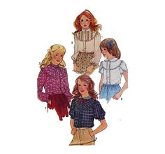 Girl's Sewing Pattern Blouse with Button Front by HoneymoonBus