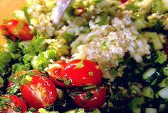 Tabbouleh recipe from Ina Garten | Substituted quinoa for the bulgar wheat and it was delicious.  I also only had one lemon, so I cut the juice in half, and it was fine.  I cut the oil and salt down, too, and it was still quite tasty.