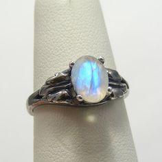Rainbow Moonstone Ring | Rainbow Moonstone Jewelry | Facet Rainbow Moonstone Antiqued Oxidized Silver Ring | Gothic Engagement SIZING 3-16