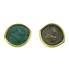 BULGARI  Ancient Bronze Coin and Gold Earclips