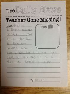 In class writing journal prompt to use when the teacher is absent