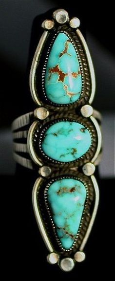 Valley Blue Triple Stone Turquoise Ring  Sterling Silver and Natural Turquoise by Calvin Martinez Navajo