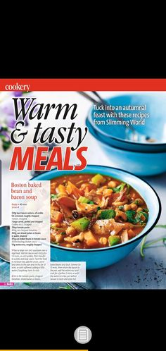 Slimming world boston baked bean and bacon soup Bean And Bacon Soup, Boston Baked Beans, Yummy Food, Tasty, Healthy Soup Recipes, Slimming World Recipes, Meals, Baking, Hearty Soup Recipes