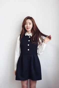 Buy Button Square Emboss Dress at Korean Fashion Store. We are always up to date with fashion trends of Korea and import clothing directly from South Korea. Come visit us to see what's the latest popular Korean fas Korean Street Fashion, Korea Fashion, Asian Fashion, Girl Fashion, Korean Dress, Korean Outfits, Ulzzang Fashion, Latest Outfits, Japanese Fashion
