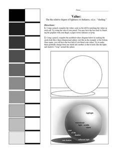 shading spheres worksheet - Google Search