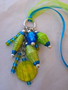 Aqua and Lime Green Paper Bead Pendant Necklace