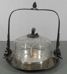 RARE Antique Cut Etched Meriden Silver Butter Dish