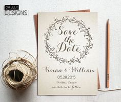 Rustic Save the Date Invitation Printable, Save te Date Invitation, Save the Date, Wedding Card, Beige, Digital File - Download