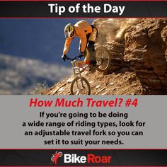 Tip of the Day: How Much Travel? #4: If you're going to be doing a wide range of riding types, look for an adjustable travel fork so you can set it to suit your needs.  #BikeRoarTOD #mtb #suspension #mountainbike