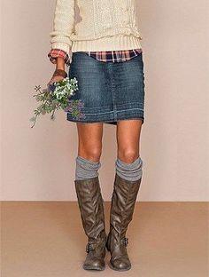 Denim Skirt Outfit Winter, Denim Skirt Outfits, Plaid Outfits, Denim Outfit, Fall Outfits, Denim Skirts, Jean Skirts, Midi Skirts, Fall Dresses