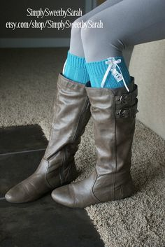 Bright Teal Boot Sock Leg Warmers by SimplySweetbySarah on Etsy, $24.00