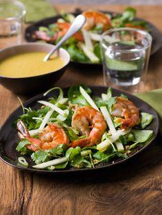 Salade met appel, scampi en currydressing