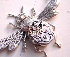Steampunk Necklace Bee Jewelry Vintage Watch Movement Antiqued Silver Plated Gothic Victorian Rustic Finish.