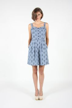 Anchor print chambray cotton sundress with by BirdsOfNorthAmerica