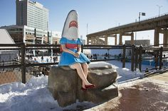 """#SharkGirl invites you to head down to @canalsidebflo for some skating and winter fun this weekend. [Casey Riordan Millard (American born 1973). """"Shark Girl"""" 2013. Public Art Collection of the Albright-Knox Art Gallery and Product of the Public Art Initiative partnership with Erie County and the City of Buffalo 2014. Photograph by Tom Loonan.] #AKPublicArt #albrightknox #art #sculpture #outdoorsculpture #publicart #canalside #canalsidebflo #canalsidebuffalo #winter #buffalo #buffalony…"""