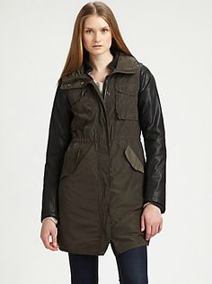 Maison Scotch  Leather-Trimmed Tech Parka