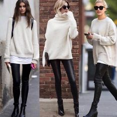 winter outfits with leggings 20 lssige Winteroutfit-Ideen fr 2019 Winteroutfits Legging Outfits, Leggings Outfit Winter, Leather Leggings Outfit, Outfit Jeans, Leggings Fashion, Outfits With Leather Leggings, Sock Boots Outfit, Spanx Faux Leather Leggings, Winter Outfits For Teen Girls