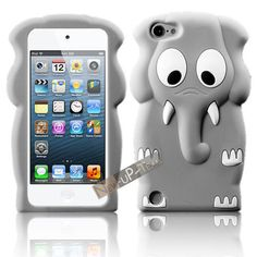 3D Little Elephant Gray Soft Rubber Back Case Cover Skin For Apple ipod touch 5