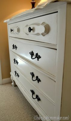 spray painted dresser - accented the distressed w/ dark walnut stain