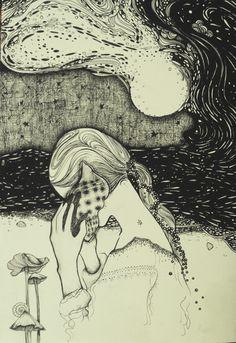 Desenho inspirado na capa do álbum da banda Allah-Las <3   #draw  #blackart #fairyart   #cordulia #line #fineline #organic #plants #fae #faery #mushroom #sea #mar