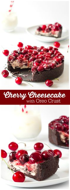 Cherry Cheesecake with Oreo Crust - Grab a fork and maybe a bib, as this cheesecake is creamy, sticky and a little bit messy!