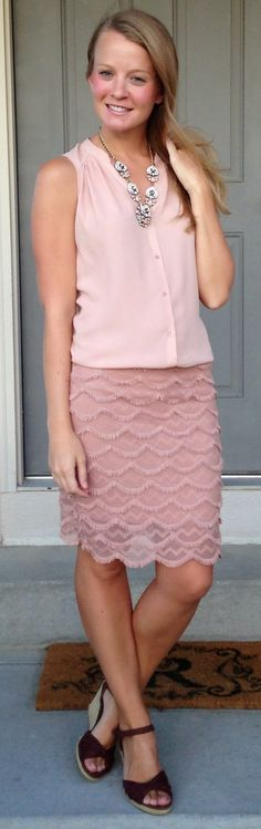 Sweet Bananie - blush blouse, pink flouncy skirt, statement necklace & brown wedges