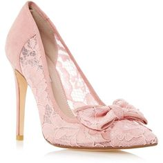 Dune Light pink 'Bodine' lace bow trim high heel court shoe ($120) ❤ liked on Polyvore featuring shoes, pumps, pointed toe shoes, high heel pumps, heel pump, bow pumps and slim shoes