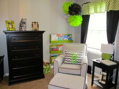 Super-fun lime green pops of color in the nursery
