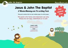 MissionMummy-LifeofJesus-JohntheBaptist-A4 Counting Activities, Activities For Kids, Wordless Book, Quick Print, Page Number, Old And New Testament, Pre Writing, John The Baptist, The Fosters