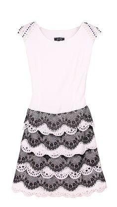 Black White Sleeveless Bead Lace Dress