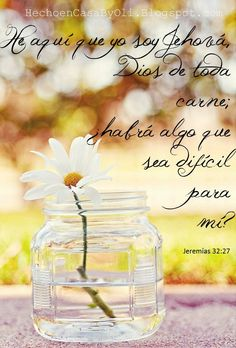He aquí que yo soy Jehová, Dios de toda carne; ¿habrá algo que sea difícil para mí? Jeremías 32:27 RVR196O