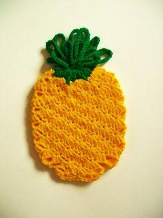 Crochet Pineapple Fruit Pot Holder Hot Pad Potholder Handmade Kitchen Housewares Decor Housewarming Gift