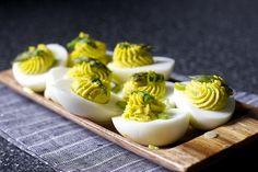 asparagus-stuffed eggs
