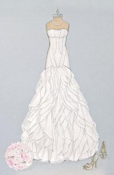 Custom Bridal Gown Illustration/ Wedding Dress Sketch www.foreveryourdress.com
