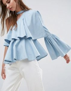 Browse online for the newest ASOS Denim One Shoulder Ruffle Top With Choker Detail styles. Shop easier with ASOS' multiple payments and return options (Ts&Cs apply). Only Fashion, Girl Fashion, Fashion Outfits, Fashion Design, Lit Outfits, Fashion Top, One Shoulder Ruffle Top, Shoulder Tops, Flutter Sleeve Top