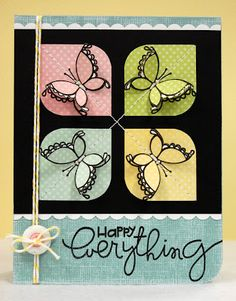 handmade card ... four square with rounded sides, four colors, butterflies ... Paper Smooches ... like the design ...