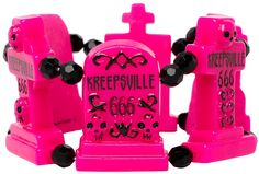 KREEPSVILLE GRAVEYARD GROUPIE BRACELET PINK  Kreepsville has a bracelet fit for a ghoul! The Graveyard Groupie bracelet features pink tombstones & black rhinestone crystals that go all the way around.  $16.00