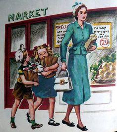 Résultats de recherche d'images pour « shopping illustration vintage »
