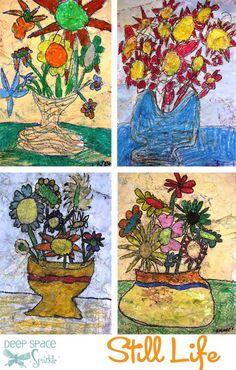 """Antiqued"" Oil Pastel Flowers in a Vase | Deep Space Sparkle- oil pastel & liquid watercolors"