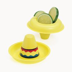 Mini Sombreros - OrientalTrading.com.  Could these be put on top of water/pop/juice bottles?