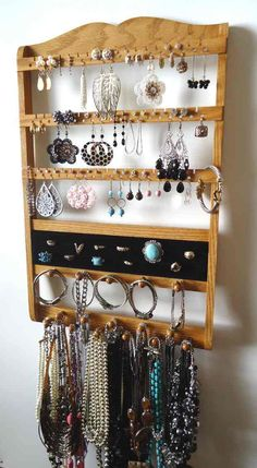 Jewelry Organizer Ring Holder Honey Oak