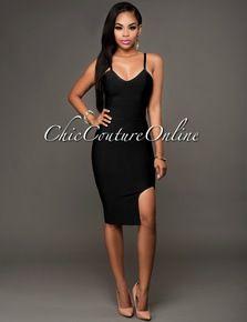Venetian Black Slit Luxe Bandage Dress