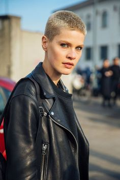 Model Kris Gottschalk first cut her hair short following a motorcycle accident, and was persuaded to dye it blonde by Riccardo Tisci. Two excellent choices - she's enjoyed a stellar career ever since.