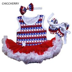 >> Click to Buy << Star Print Baby Girl Clothes Summer Toddler Lace Romper Dress 4th Of July Outfits Infant Tutu Headband & Shoes Set Ropa De Bebe  #Affiliate