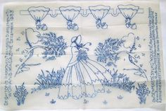 Vintage Deighton embroidery transfer - Crinoline Lady with Berry Trees & border in Crafts, Embroidery, Patterns | eBay