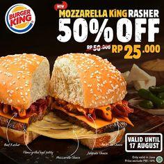 . Udah pada tahu kan gimana enaknya Jalapeno Cheese ditaruh di atas Flame-Grilled beef patty??  . Udah pada tahu kan gimana enaknya Jalapeno Cheese ditaruh di atas Flame-Grilled beef patty?? Enaknya gak setengah-setengah! Apalagi kalau harga yang sekarang cuma SETENGAH-nya Yuk beli Mozzarella King Rasher yang lagi promo 50% sekarang jadi 25ribu cuma di BK!  . . Syarat & Ketentuan  Berlaku 12-17 Agustus 2019.  Hanya berlaku untuk makan di tempat.  Berlaku di semua outlet BK di pulau Jawa…