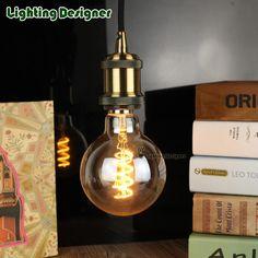 G95 antique globe Edison bulb 4W dimmable soft LED filament clear Amber 110-240V E27 base spiral design light bulb